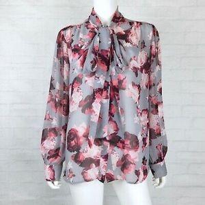 EVA MENDES new york&company semi-sheer blouse S